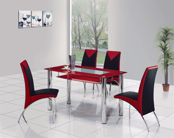 Rimini glass dining table glass dining table and chairs for Glass dining table set