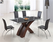 XANTA WALNUT GLASS DINING TABLE AND CHAIRS<br />