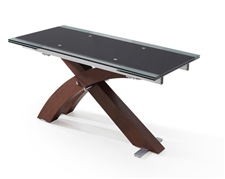 XANTA WALNUT EXTENDING GLASS DINING TABLE