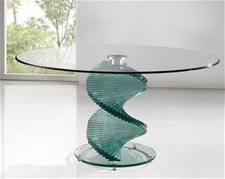 TWIRL CLEAR GLASS DINING TABLE