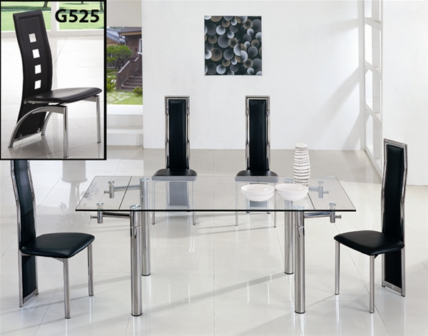 Java extending glass dining table and chairs