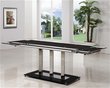 BASS EXTENDING GLASS DINING TABLE