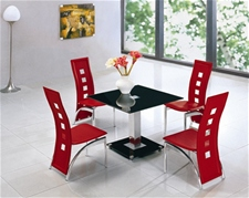 JET SQUARE GLASS DINING TABLE (80CM) AND 4 CHAIRS<br />