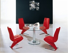MINI ROUND GLASS CHROME DINING TABLE  AND 4 CHAIRS<br />