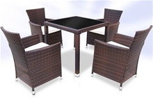 RATTAN DINING TABLE AND 4 CHAIRS SET - BROWN<br />