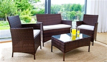 4PC RATTAN GARDEN FURNITURE SET - BROWN<br />