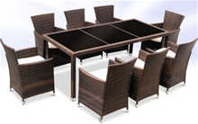 RATTAN DINING TABLE AND 8 CHAIRS SET - BROWN<br />
