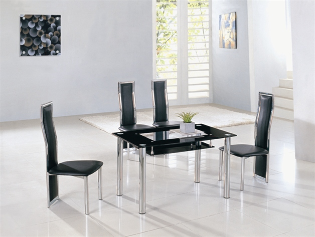 Black And Chrome High Back Dining Chairs