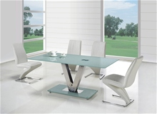 V GLASS DINING TABLE <BR>ONLY