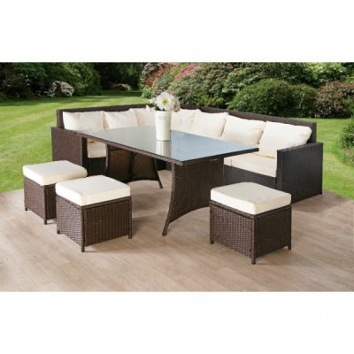 Rattan Corner Sofa And Stool Dining Set