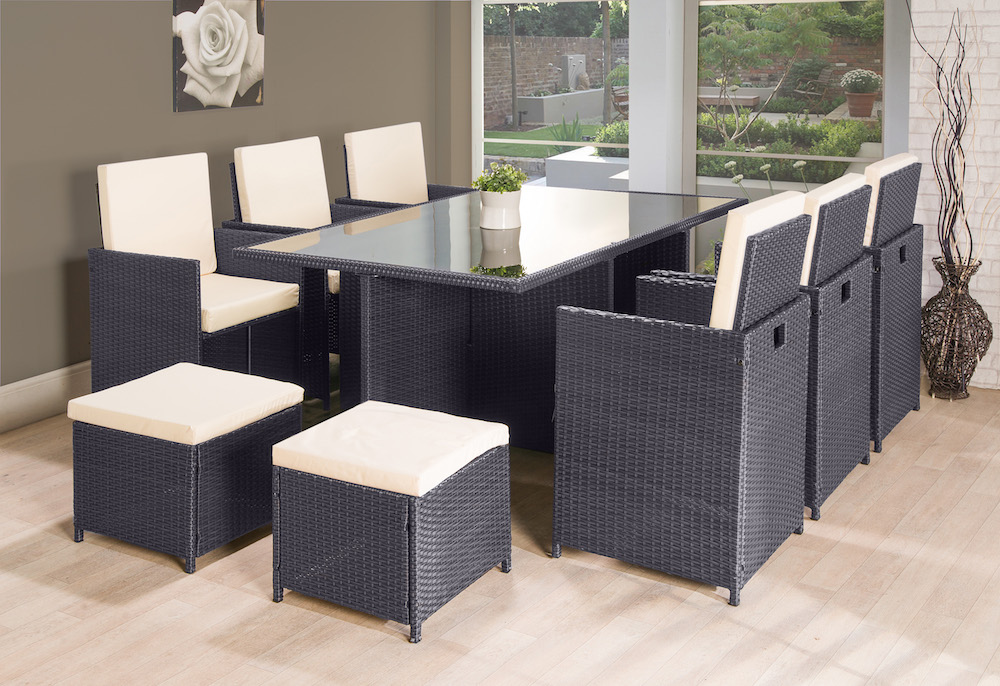 11pc Cube Rattan Garden Furniture Black