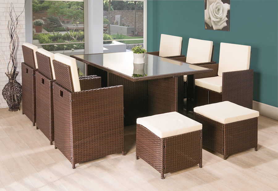 cube rattan garden furniture set chairs sofa table outdoor patio wicker 11pc brown