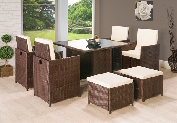9PC CUBE RATTAN 8 SEATER GARDEN SET