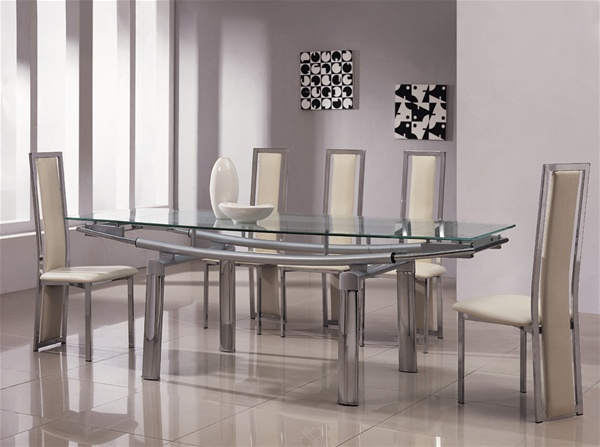 Delta mega extending glass chrome dining table and chairs for Glass dining table and chairs