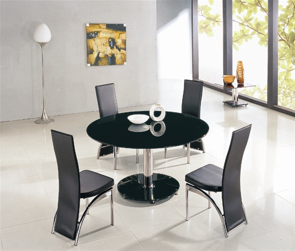 Maxi Round Glass Dining Table And Chairs, Glass Tables