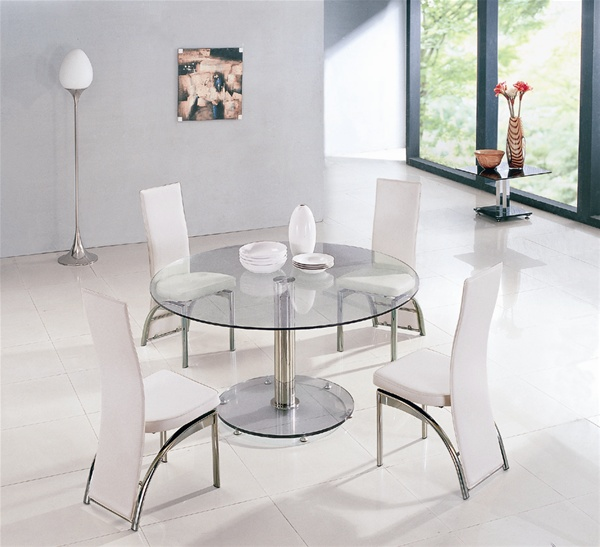Maxi Round Glass Dining Table And Chairs Glass Tables