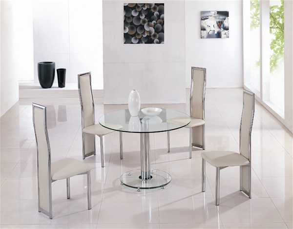 mini round vo1 ice glass dining table glass dining table  : 814CLR 650CRM from www.diningtables.co.uk size 600 x 469 jpeg 72kB