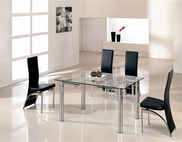 Java extending glass chrome dining table and chairs  : 865CLR 501BLK from www.diningtables.co.uk size 600 x 469 jpeg 77kB