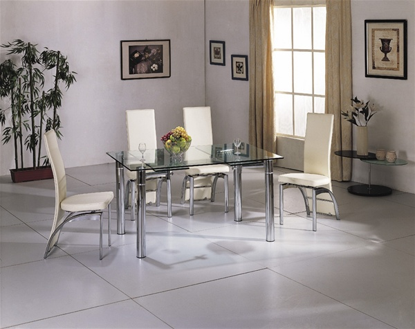 JAVA EXTENDING GLASS CHROME DINING TABLE AND CHAIRS SET