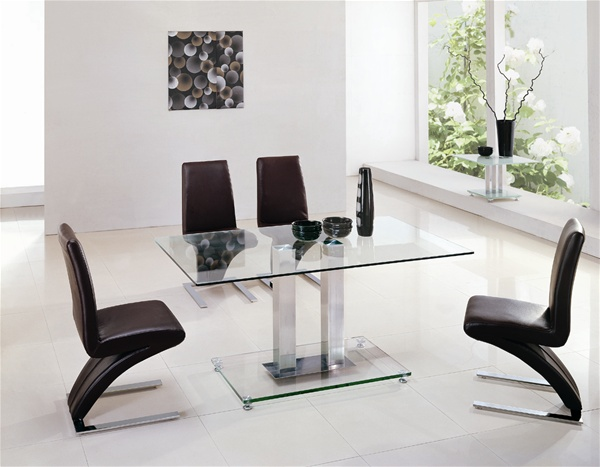 JET GLASS DINING TABLE AND 6 CHAIRS