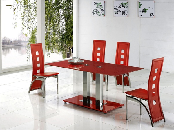 jet red glass dining table, dining table and chairs, dining tables
