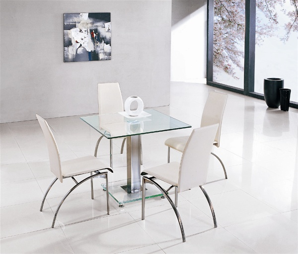 jet ice square glass dining table and 4 chairs furniture