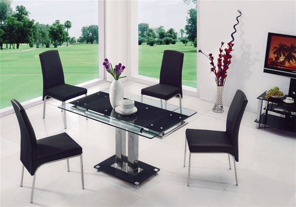 Gio extending glass dining table dining table and chairs for Dining table weight