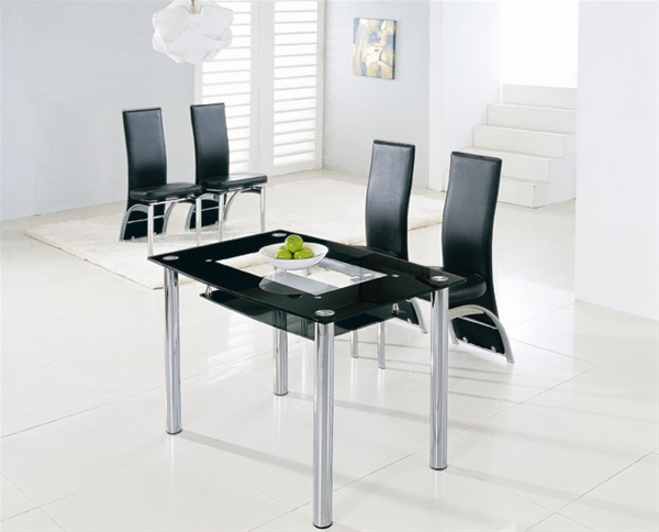 Compact large glass dining table dining table and chairs for Compact dining table