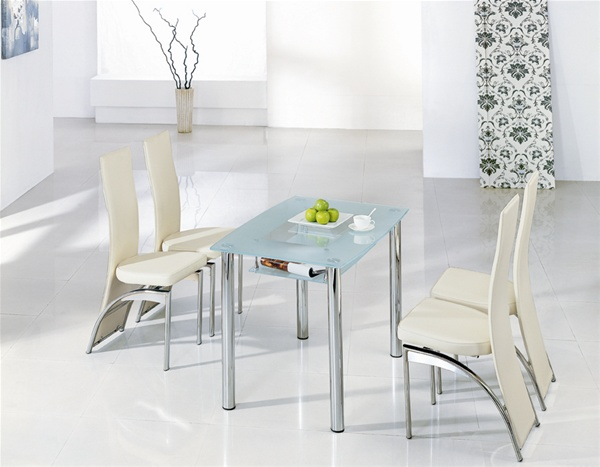 Compact small glass dining table and chairs