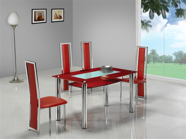 Compact large glass dining table dining table and chairs dining sets - Table salle a manger petite largeur ...