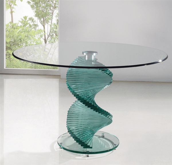 Twirl Clear Glass Dining Table Dining Table And Chairs