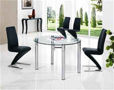 JAVA ROUND EXT. GLASS DINING TABLE AND CHAIRS<br />