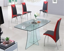 SERENE LARGE GLASS DINING TABLE AND CHAIRS<br />