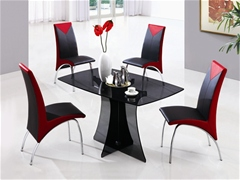 SERENE SMALL GLASS DINING TABLE AND CHAIRS<br />