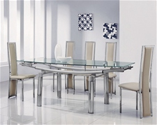 DELTA EXTENDING GLASS DINING TABLE AND 6 CHAIRS<br />