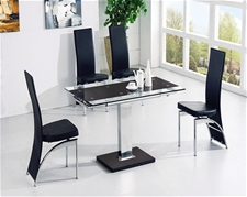 GAMI EXTENDING GLASS TABLE AND 4 CHAIRS<br/>