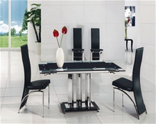 MANI EXTENDING GLASS DINING TABLE AND CHAIRS<br />