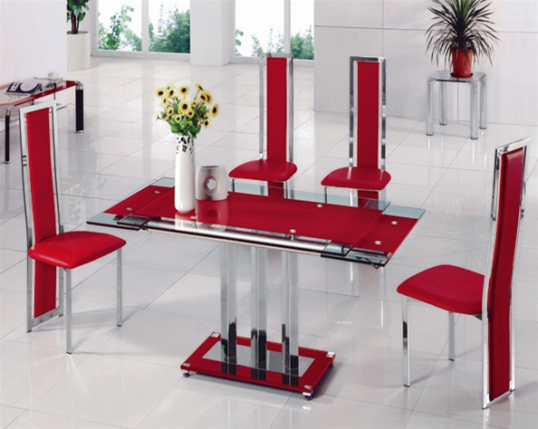 Mani Extending Glass Table Dining Table And Chairs