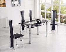 COMPACT LARGE GLASS DINING TABLE AND 4 CHAIRS<br />