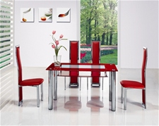 COMPACT LARGE RED GLASS CHROME DINING TABLE AND 4 CHAIRS<br />