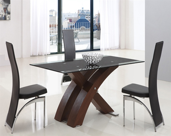 XANTA WALNUT GLASS TABLE