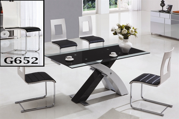 XANTA GLASS DINING TABLE AND CHAIRS