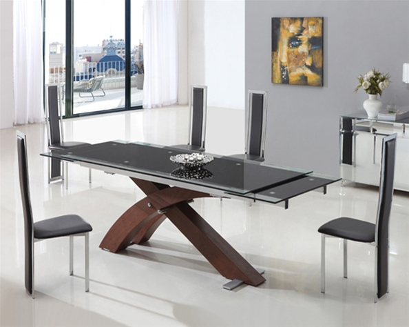 XANTA WALNUT EXT GLASS TABLE