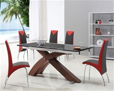 XANTA WALNUT EXTENDING GLASS DINING TABLE AND CHAIRS<br />