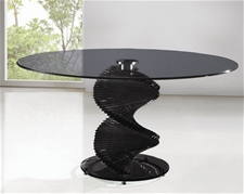 TWIRL SMOKED GLASS DINING TABLE