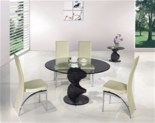 TWIRL SMOKED GLASS DINING TABLE AND CHAIRS<br />