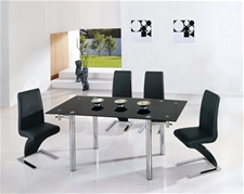 JAVA EXTENDING GLASS DINING TABLE AND 6 CHAIRS<br />