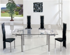 JAVA EXTENDING GLASS DINING TABLE 140-200 CM AND CHAIRS<br />