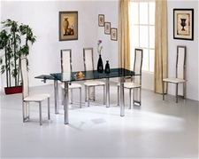 JAVA EXTENDING GLASS DINING TABLE AND CHAIRS<br />