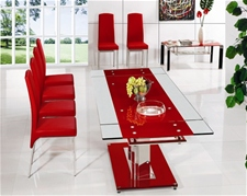 BASS EXTENDING GLASS DINING TABLE AND CHAIRS<br />